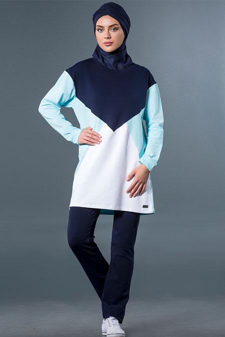 Mayovera Buz Mavisi & Lacivert Baklava Tasarım Eşofman Takımı
