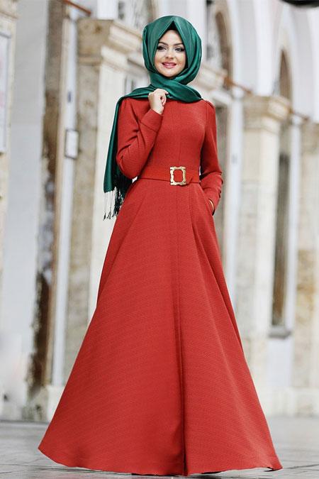 Pınar Şems Kiremit Güz Elbise