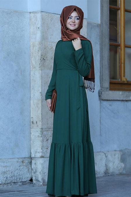 Pınar Şems Yeşil Eteği Fırfırlı Elbise