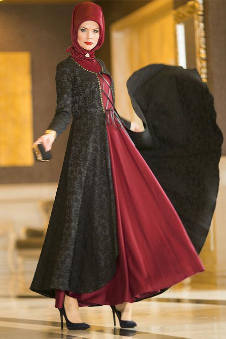 Dersaadet Bordo Kaftanlı Abiye Elbise