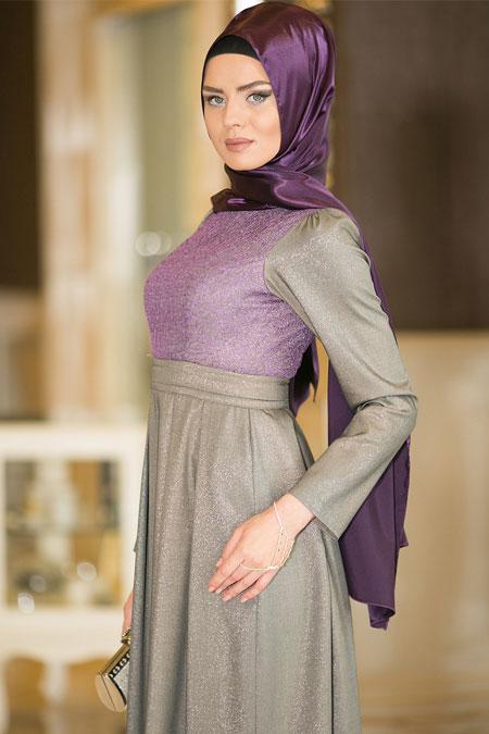 Dersaadet Lila Simli Abiye Elbise