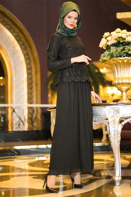Dersaadet Siyah Dantelli Abiye Elbise