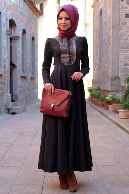 Mevra Siyah Süet Elbise