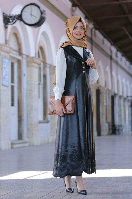Pınar Şems Siyah Layd Deri Yelek