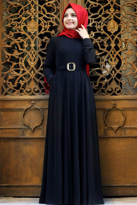 Pınar Şems Siyah Kemerli Düz Elbise