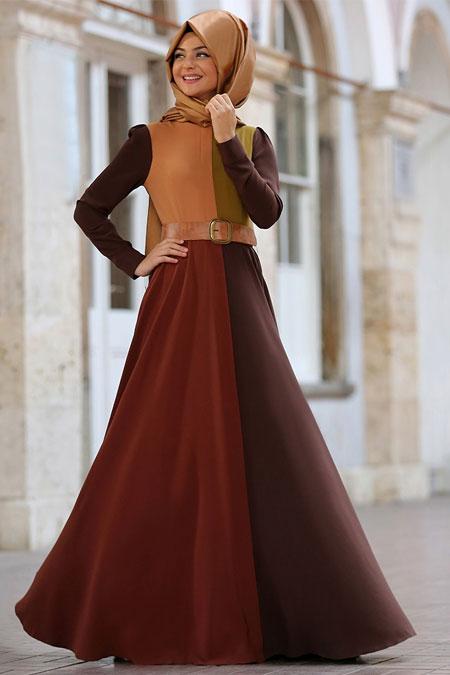 Pınar Şems Kahverengi Dama Desen Elbise
