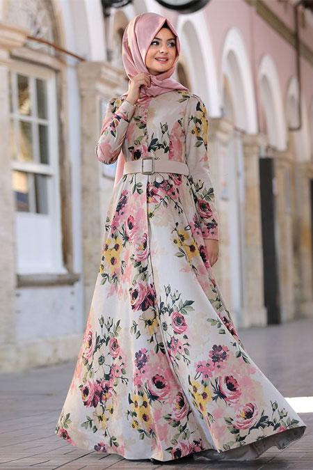 Pınar Şems Krem Çiçekli Perçem Elbise