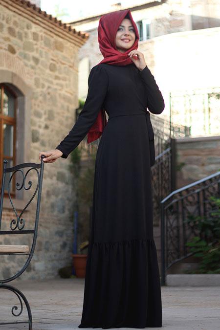 Pınar Şems Siyah Eteği Fırfırlı Elbise