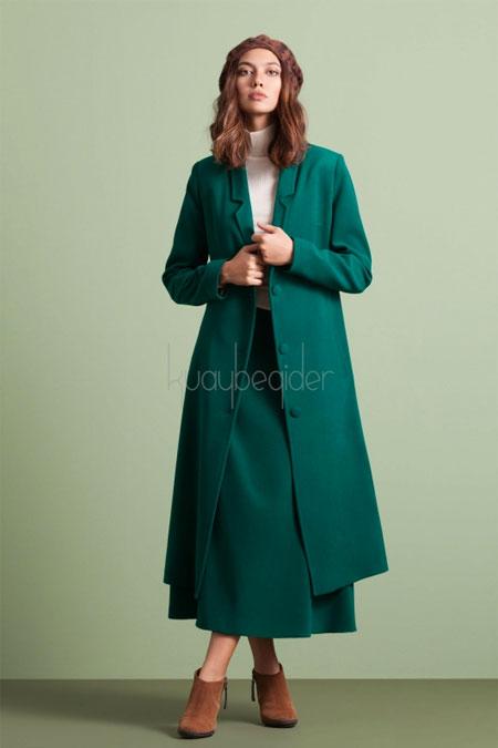 Kuaybe Gider Yeşil Seküler Palto