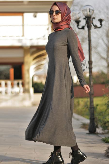 Melek Aydın Antrasit Basic Elbise