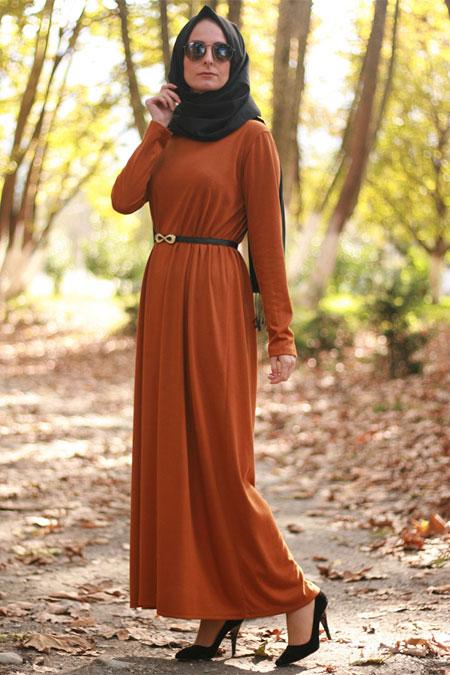 Melek Aydın Hardal Sade Elbise