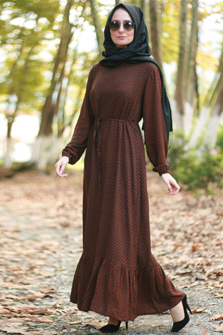 Melek Aydın Kahve Fırfırlı Elbise