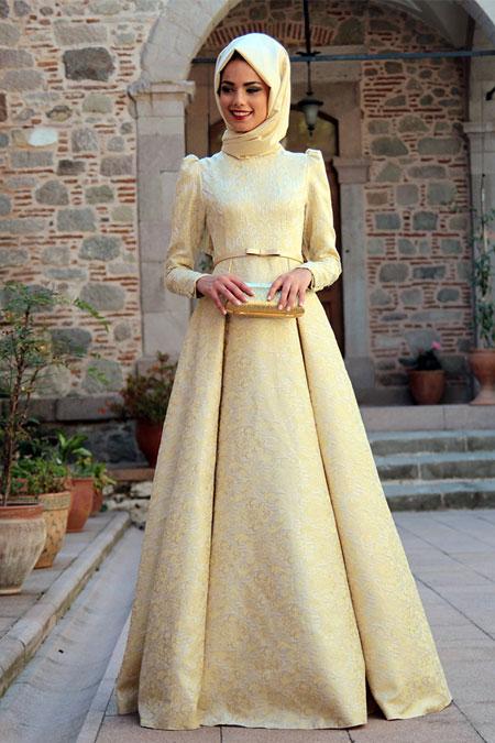 Mevra Gold Brokar Elbise