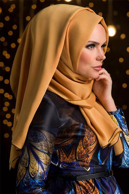 Muslima Wear Altın Sarı Püsküllü Şal