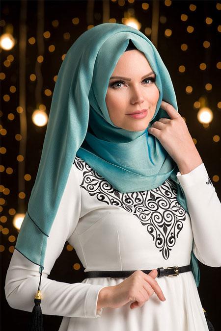 Muslima Wear Antik Mavi Püsküllü Şal