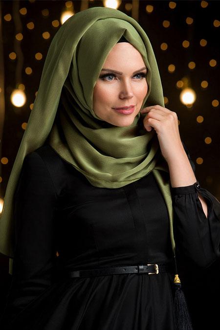 Muslima Wear Haki Yeşil Püsküllü Şal