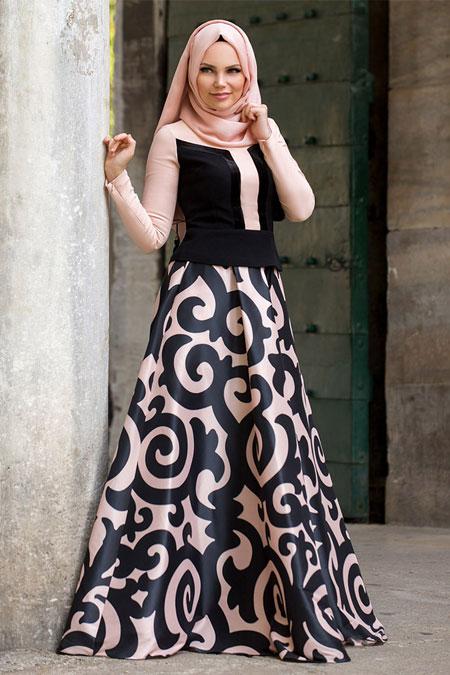 Muslima Wear Siyah Pudra Desenli Etek