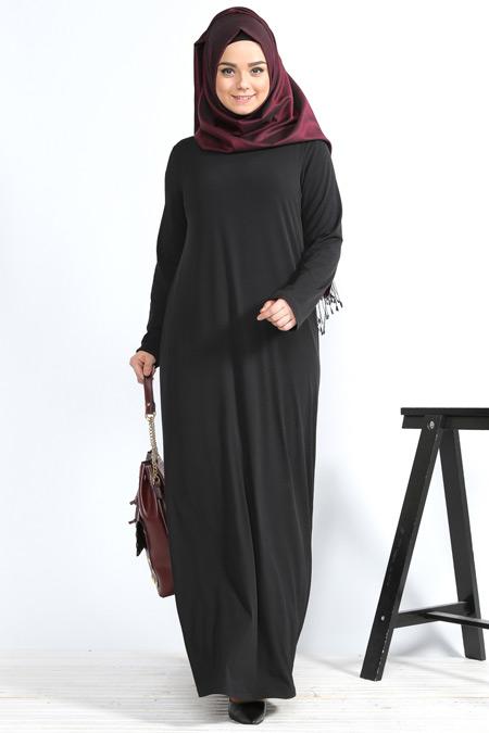 Alia Siyah Basic Elbise
