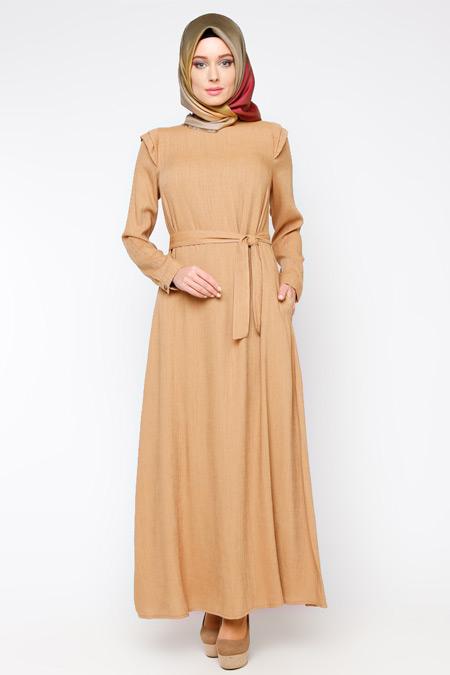 Allday Camel Kemerli Elbise