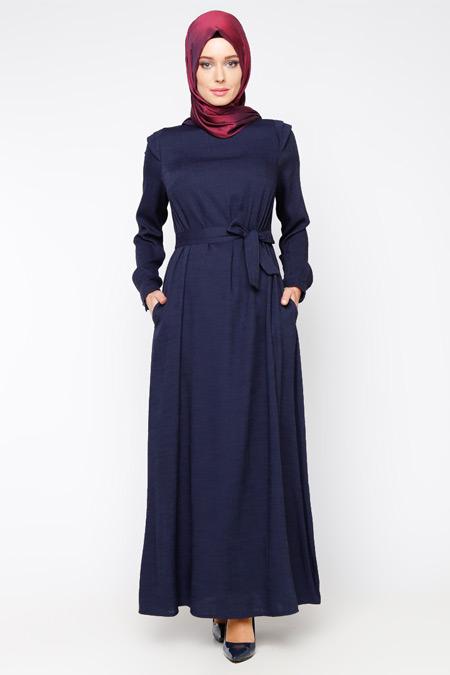 Allday Lacivert Kemerli Elbise