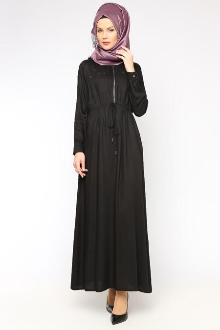 Allday Siyah Fermuar Detaylı Elbise