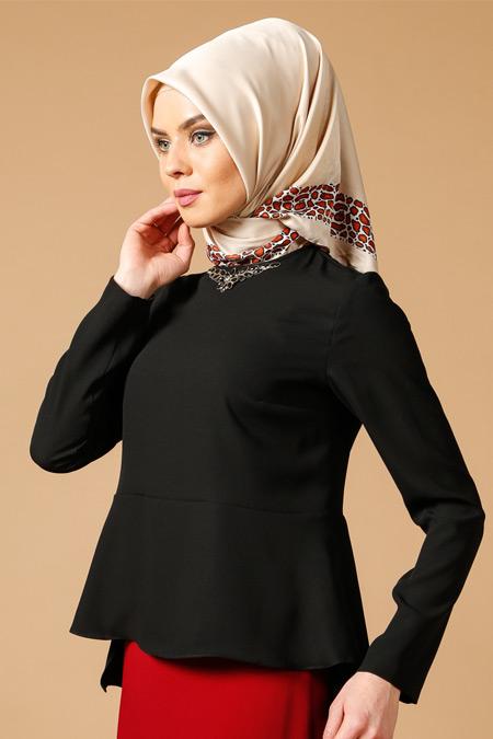 Armine Siyah Taş Detaylı Bluz
