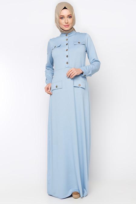 Moonlight Buz Mavisi Düğmeli Elbise