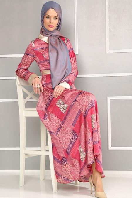 Refka Fuşya Desenli Elbise