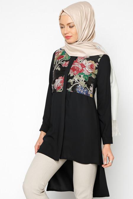 Tuncay Bordo Siyah Çiçekli Tunik
