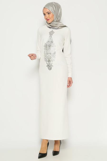 ANNA Ekru Baskılı Elbise