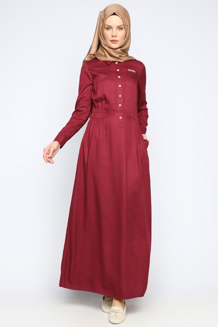 Allday Bordo Düğme Detaylı Elbise