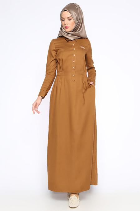 Allday Camel Düğme Detaylı Elbise