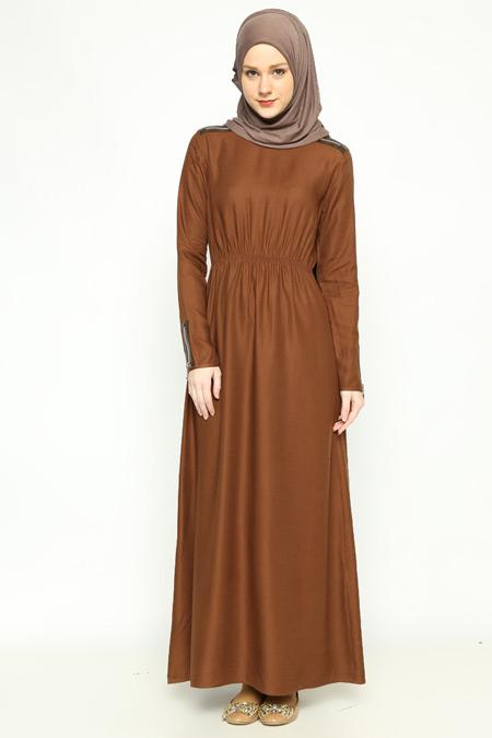 Allday Kahve Fermuar Detaylı Elbise
