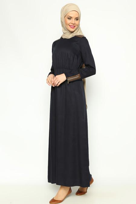 Allday Lacivert Fermuar Detaylı Elbise
