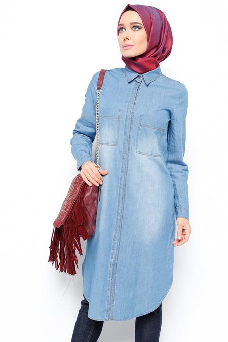 Allday Mavi Gizli Düğmeli Tunik