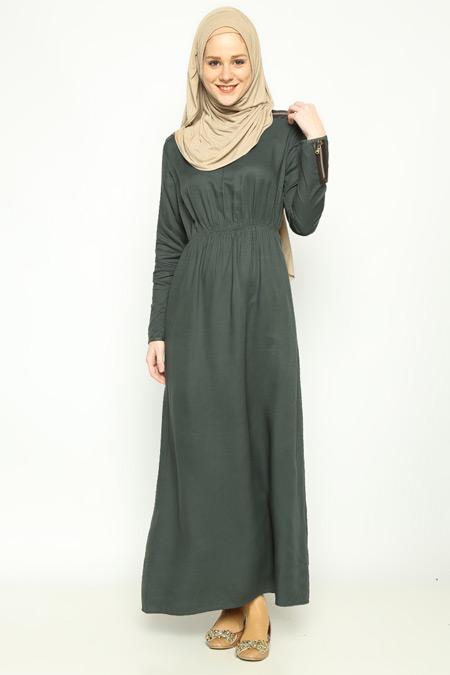 Allday Nefti Fermuar Detaylı Elbise