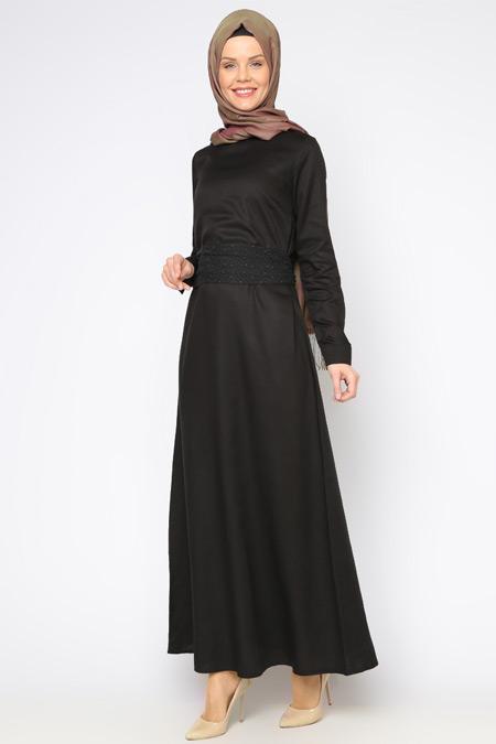 Allday Siyah Kemerli Elbise