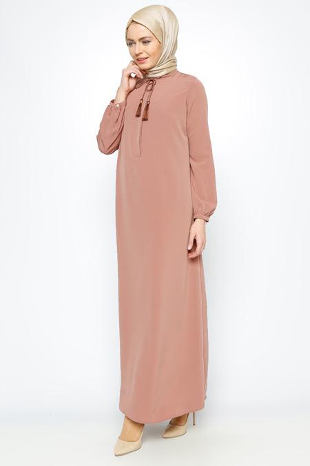 Allday Soğan Kabuğu Tek Renk Elbise