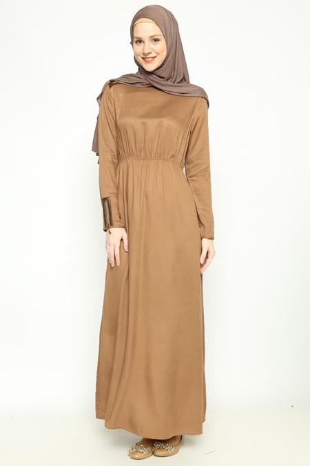 Allday Toprak Fermuar Detaylı Elbise