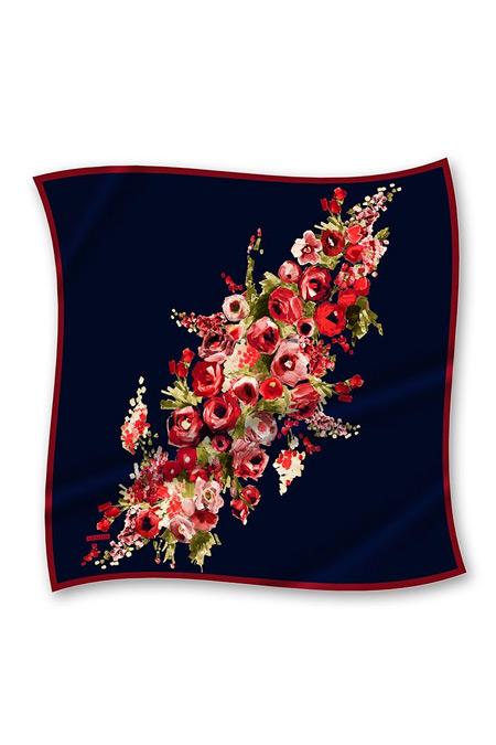 Armine İpek Eşarp Çiçek Desen Lacivert, Kırmızı SURA