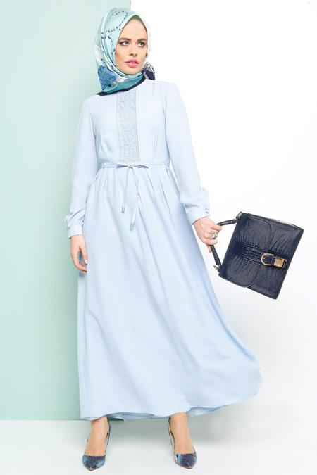 Armine Mavi Dantel Detaylı Elbise