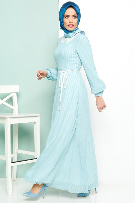 Armine Mint Çizgili Şifon Elbise