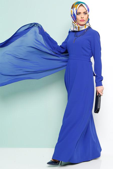 Armine Saks Şifon Detaylı Elbise