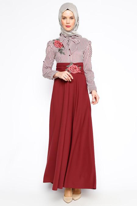 BÜRÜN Bordo Güpür Detaylı Elbise