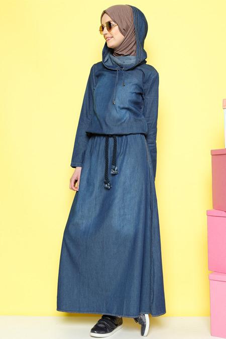 Benin Açık Mavi Kot Elbise