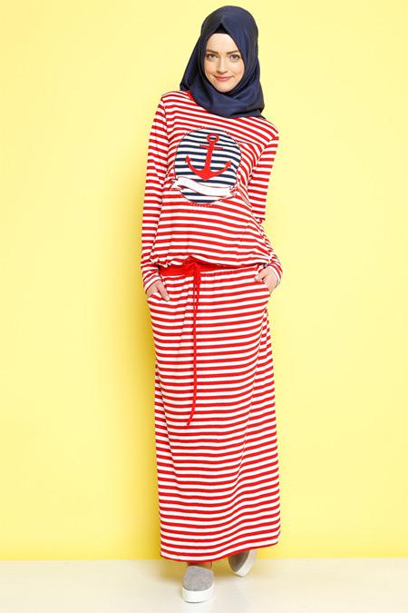 Benin Kırmızı Çizgili Elbise