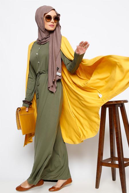 Everyday Basic Haki Düğme Detaylı Elbise