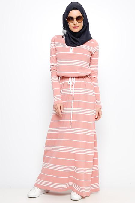 Everyday Basic Pudra Çizgili Elbise