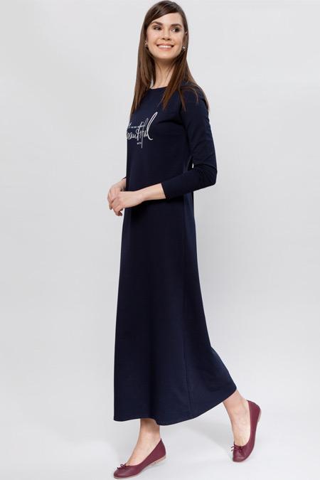 LC Waikiki Lacivert Uzun Kollu Uzun Elbise