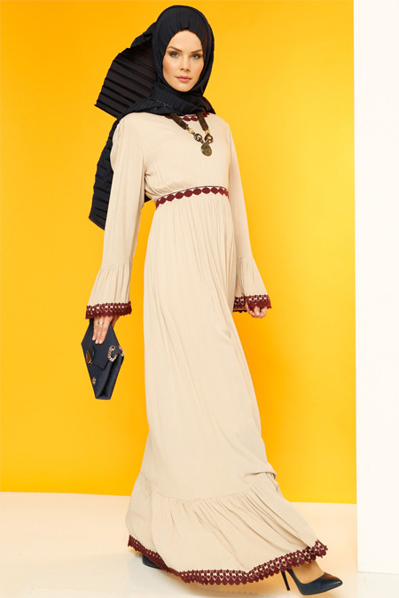 Luvice Bej Güpür Detaylı Elbise